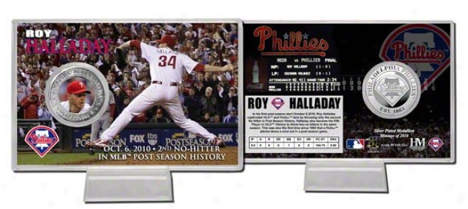 Ro6 Halladay &quotpost Season No Hitter&quot Silvery Coin Card
