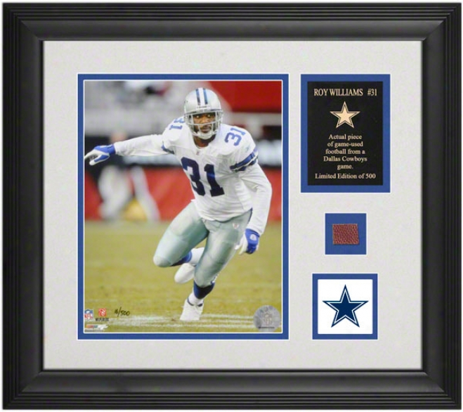 Roy Williams Dallas Cowboys Framed 8x10 Photograph With Game Used Football And Logo