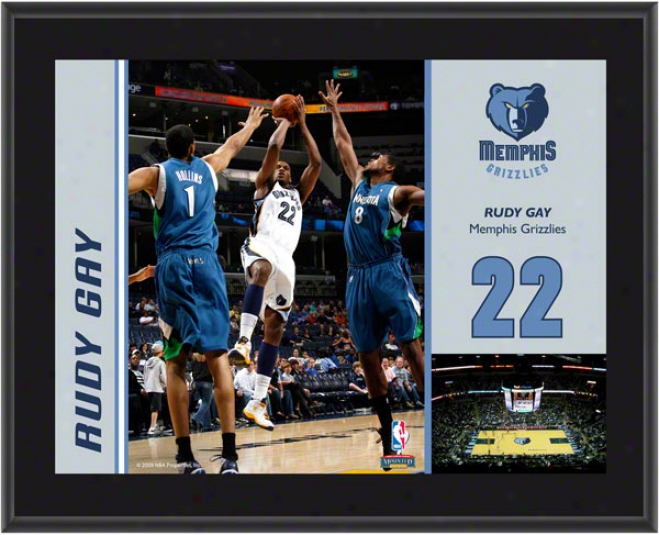Rudy Gay Plaque  Details: Memphis Grizzlues, Sublimated, 10x13, Nba Plaque