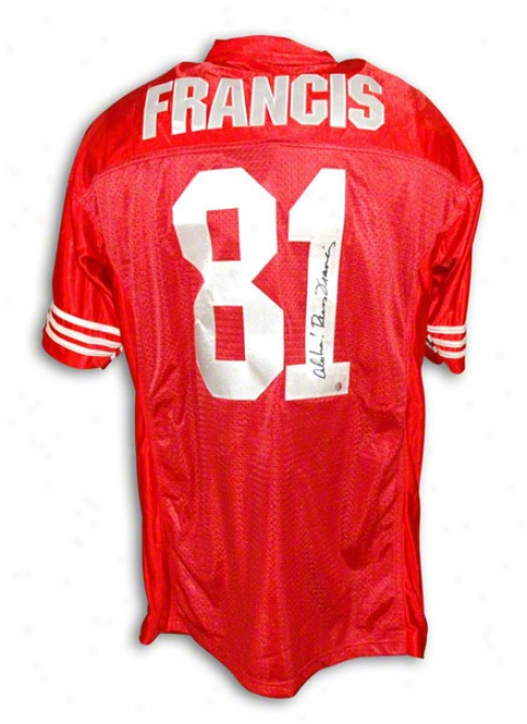 Russ Francis Autographed San Francisco 49ers Red Jersey Inscribed &quotaloha&quot