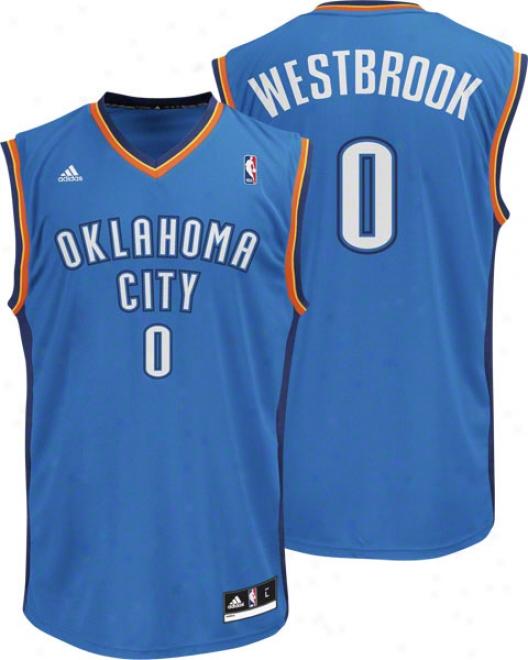Russell Westbrook Jersey: Adidas Revolution 30 Blue Replica #0 Oklahoma City Thunder Jersey