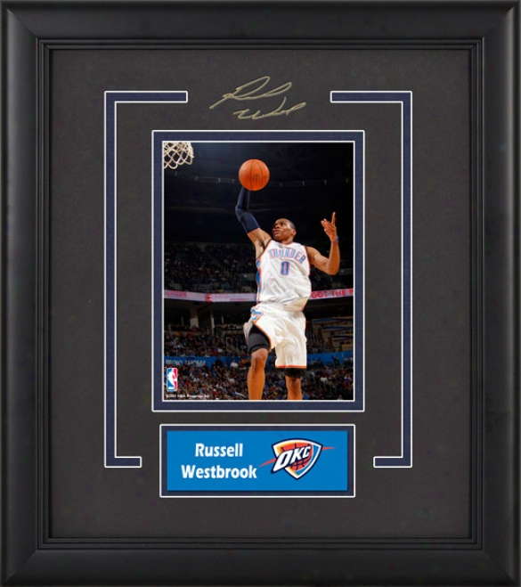 Russell Westbrook Oklahoma City Thunder Framed 6x8 Photograph With Facsimile Signature And Plate