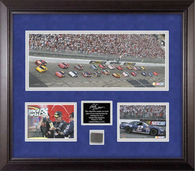 Rusty Wallace - 2004 Advance Auto Parts 500 Champion - Framed Mini Panoramic Photograph With 8x10 Photographs And Racw Used Tire