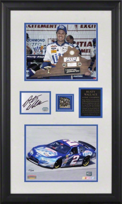 Rusty Wallace Framed 8x10 Photographs With Autographed Plate And Track Piece From Richmond Internationnal Raceway Start/finish Line