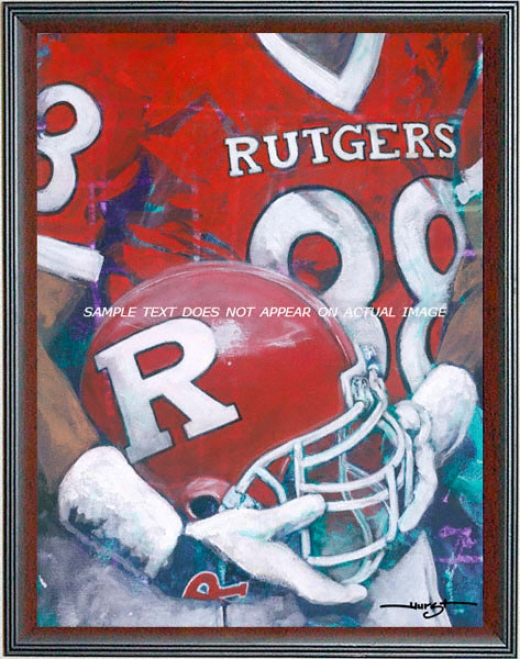 Rutgers Scarllet Knights - &quotstate U Helmet Series&quot - Oversized - Framed Giclee