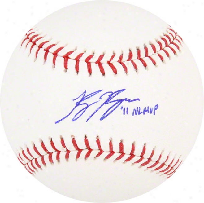 Ryan Braun Autographed Baseball  Details: Milwaukee Brewers, With &quot11 Nl Mvp&quot Inscription