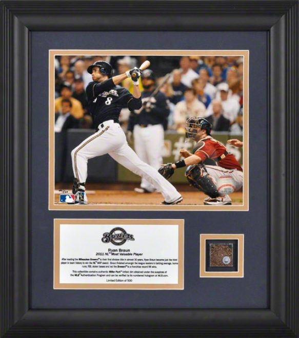 Ryan Braun Framed 8x10 Photograph  Details: Milwaukee Brewers, 2011 National League Mvp, With Game Used Dirt And Descriptive Plate, Limited Edition Of 500