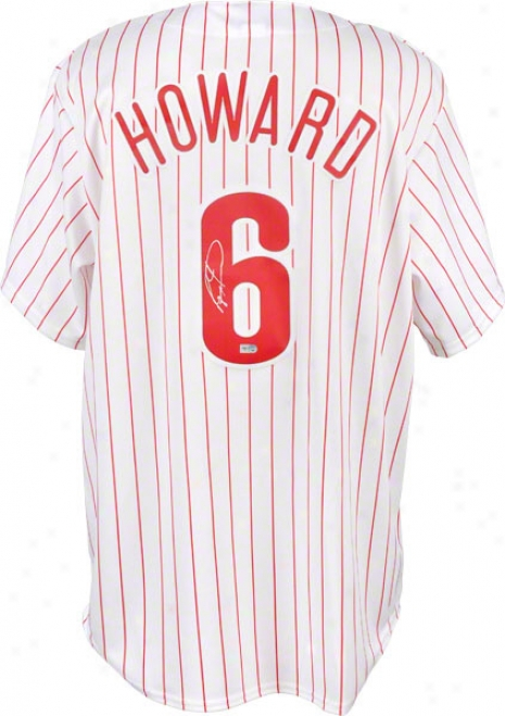 Ryan Howard Autographed Jersey  Details: Philadelphia Phillies, White, Majestic Replica