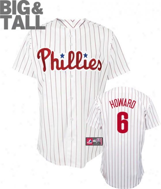 Ryan Howard Big & Tall Jersey: Adult Home Pinstripe Replica #6 Philadelphia Phillies Jersey