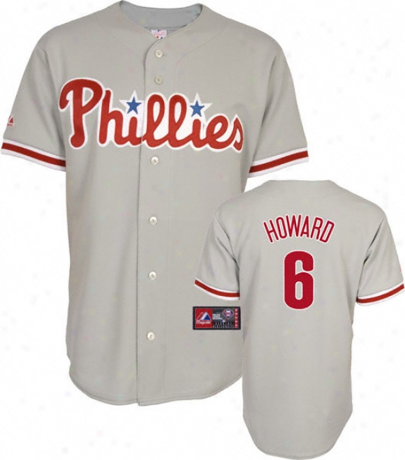 Ryan Howard Jersey: Adult Majestic Roadstead Grey Replica #6 Philadelphia Phillies Jersey