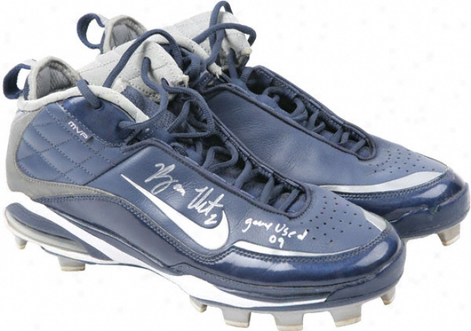 Ryan Theriot Autographed Game Used Cleats With Gu 09 Inscription