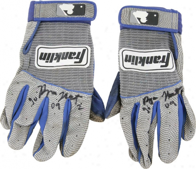 Ryan Theriot Autographed Gray Franklin Batting Gloves With Gu 09 Inscription