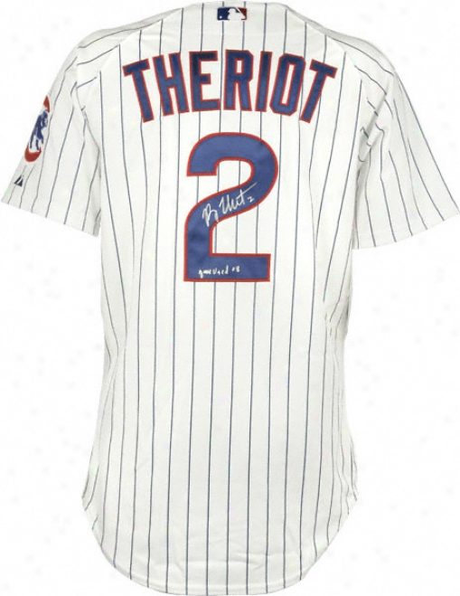 Ryan Theriot Chicago Cubs Autographed 2008 Game Used Home Jersey