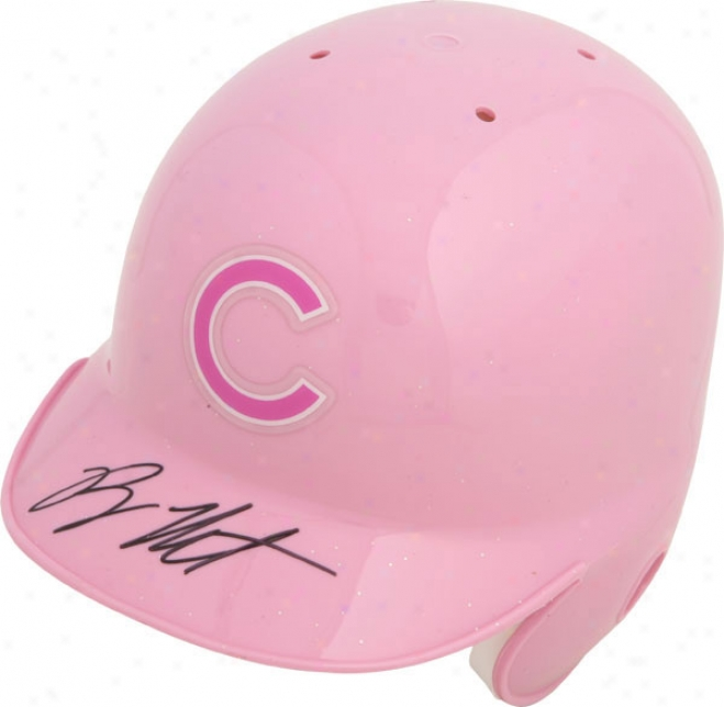 Ryan Theriot Chicago Cubs Autographed Riddell Pink Mini Helm