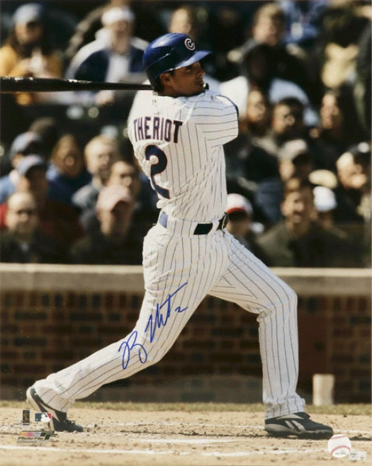 Ryan Theriot Chicago Cubs - Swinging - Autographed 16x20 Photograph