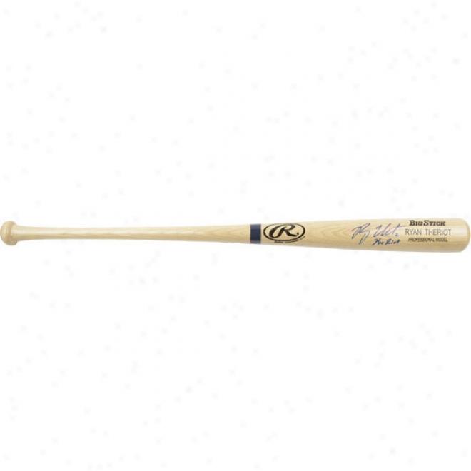 Ryan Theriot St. Louis Cardinals Autographed Blonde Big Stick Bat W/-Inscription &quotthe Riot&quot