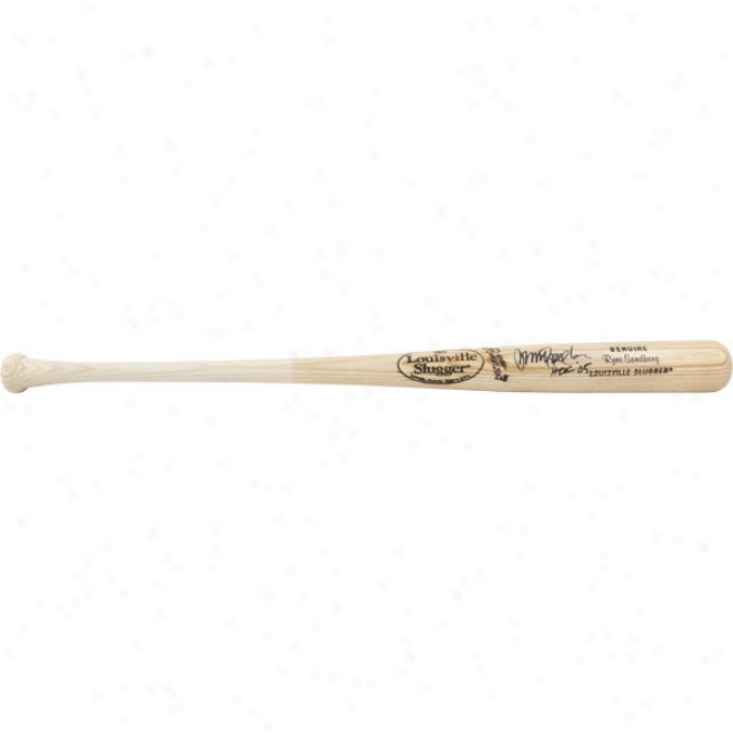 Ryne Sandberg Autographed Bat  Details: Blonde Louisville Slugger Bat, Hof '05 Inscription