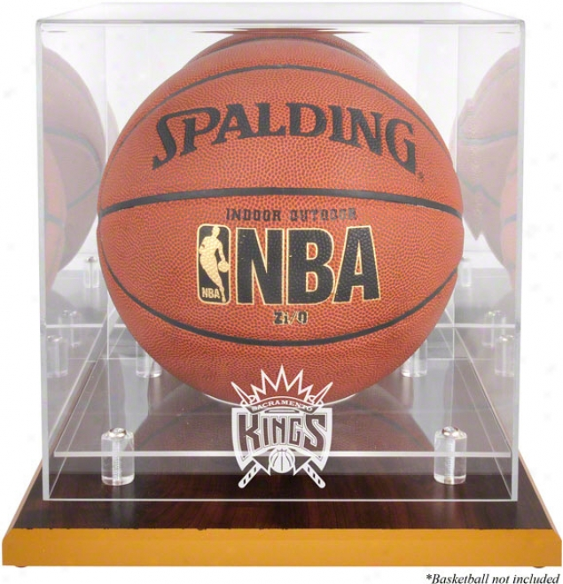 Sacramento Kings Woodbase Logo Basketball Parade Case And Mirror Back