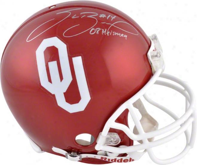 Sam Bradford Autographed Pro-line Helmet  Detaisl: Oklahoma Sooners, Authentic Riddell Helmet, With Inscription &quot08 Heisman'&quot