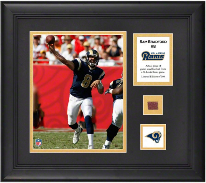 Sam Bradford Framed 8x10 Photograph  Details: St. Louis Rams, With Sport Used Football Piece And Descriptive Plate