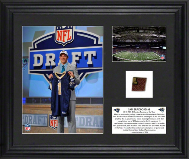 Sam Bradford Framed Photographs  Details: St. Louis Rams, 2010 Offensive Roy, Game Used Football