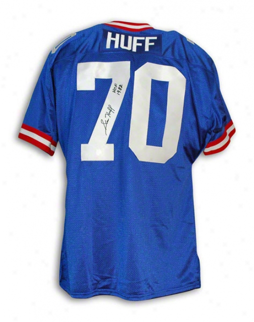 Sam Huff Autographed Repaired York Giants Blue Throwback Jersey Inscribed &quothof 82&quot