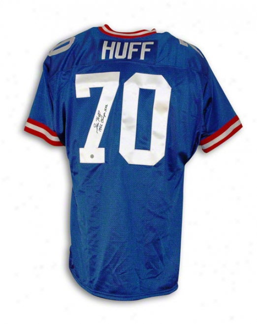 Sam Huff New York Giants Autographed Blue Thrrowback Jersey Inscribed 1956 Champs Nfl