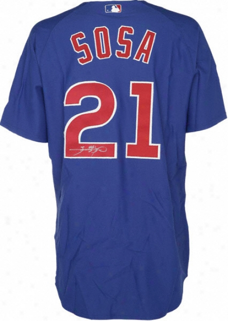 Sammy Sosa Chicago Cibs Autographed Majestic Athletic Authentic Blue Jersey