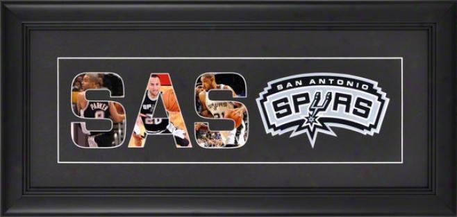 San Antonio Spurs Framed 10x20 Black Matte Logo Art Collage