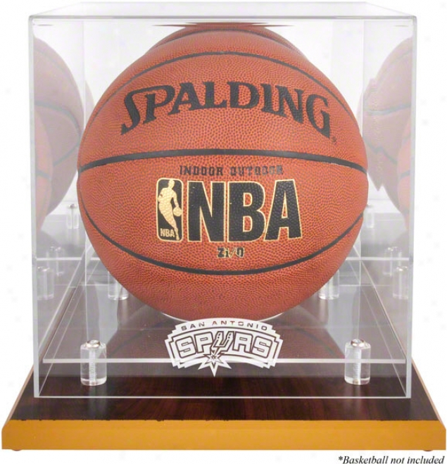 San Antonio Spurs Woodbase Logo Basketball Display Case And Mirror Back