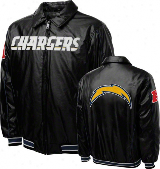 San Diego Chargers Faux Leather Full-zip Varsity Jacket