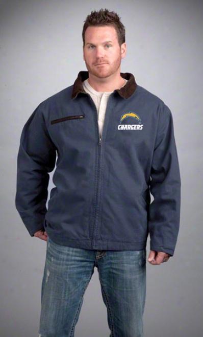 San Diego Chargers Jerkin: Navy Reebok Tradesman Jacket