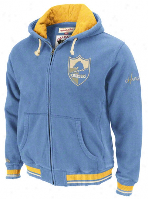 San Diego Chargers Mitchell & Ness Powder Blue Standing Room Full Zip Hooded Jacket