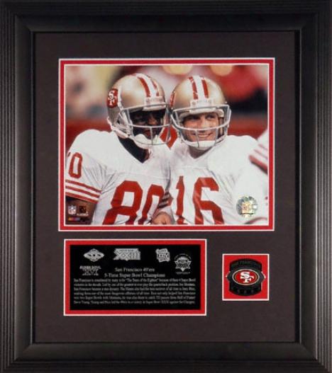 San Francisco 49ers - 5x Sb Cham0s - Framed 8x10 Photograph With Descriptive Dish Abd Team Medallion