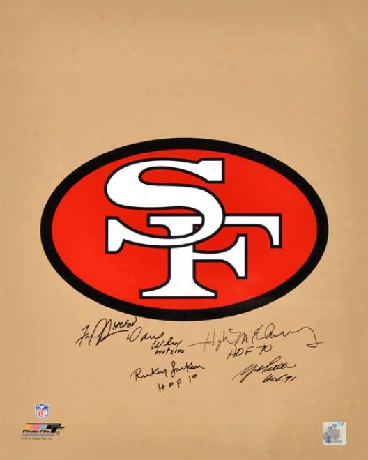 San Francisco 49ers Autographed Logo  Details: 16x20, 5 Signatures