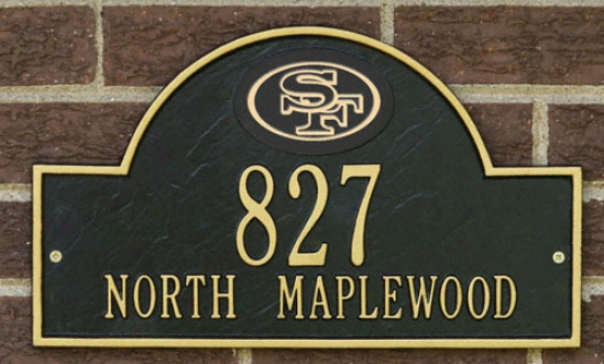 San Francisco 49ers Black And Gold Personalized Address Wall Plaque