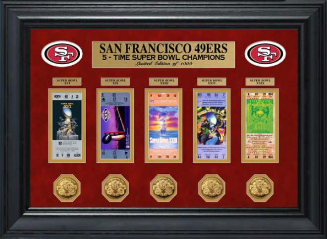 San Francisco 49ers Framed Super Bowl Ticket And Game Coin Collection