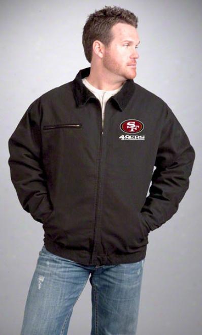 San Francisco 49ers Jacket: Black Reebok Tradesmah Jacket