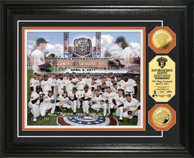 San Francisco Giants 2010 World Series Champions Ring Parade 24kt Gold Coin Photo Ming