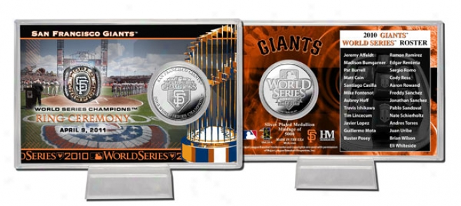 San Francisco Giants 2010 World Succession Champions Ring Ceremony Siiver Coin Card