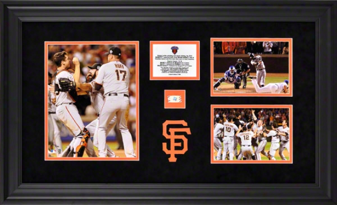 San Francisco Giants 3-photo Framed Collectable  Detailw: 2010 World Series Champs, Game Used Baseball, Le Of 500