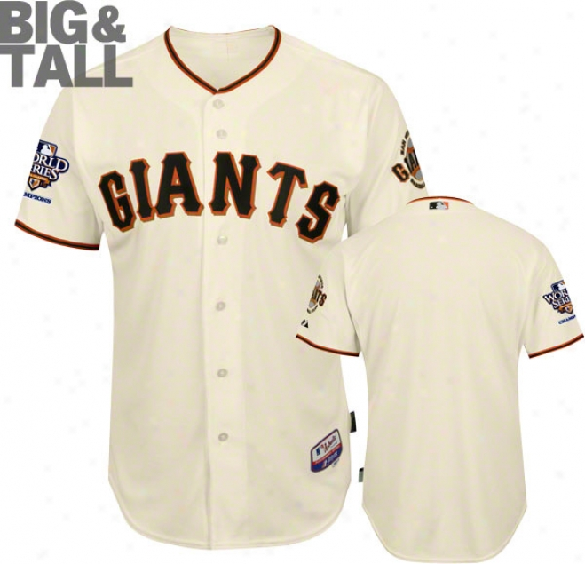 San Francisco Giants Big & Tall Home Ivory Cool Baseã¢â�žâ¢ Authentic On-field Jersey With 2010 World Series Chmaps Patch