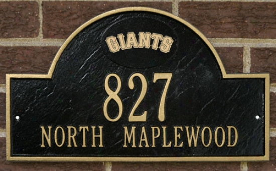 San Francisco Giants Black And Gold Personalized Address Wall Plaque