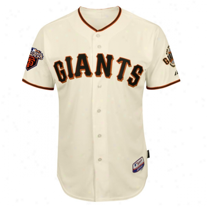 San Francisco Giants Home Ivory Trustworthy Cool Baseã¢â�žâ¢ On-field Jersey With World Series Commemorative Patch Worn In 2011