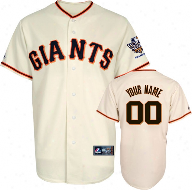 San Francisco Giants Jersey: Adult Personalized Home Replica Jersey With 2010 World Series Champs Patch