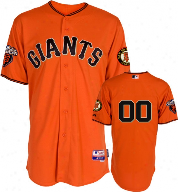 San Francisco Giants Jersey: Any Player Alternate Orwnge Authentic Cool Baseã¢â�žâ¢ On-field Jersey With World Series Commemorative Tract Worn In 2011