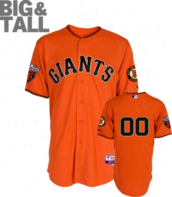 San Francisco Giqnts Jersey: Any Player Big & Tall Alternate Orange Authentic Cool Baseã¢â�žâ¢ On-field Jersey With World Series Commemorative Patch Worn In 2011
