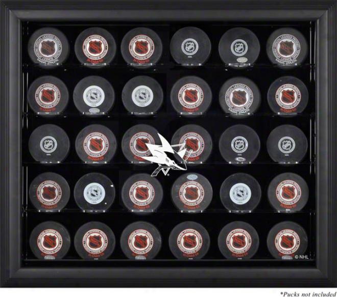 San Jose Sharks Framed 30 Hockey Puck Logo Display Case