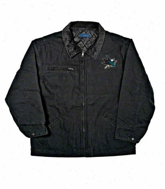San Jose Sharks Jacket: Black Reebok Tradesman Jacket