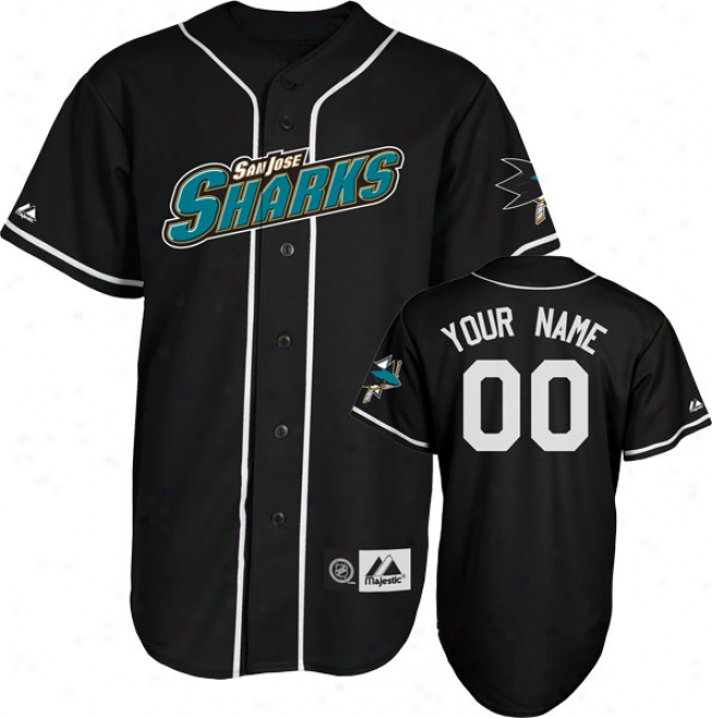San Jose Sharks Jersey: Black Customizable Nhl Replica Basebalp Jersey